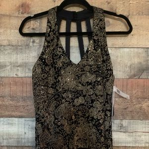 Xscape black and gold camisole top, size medium